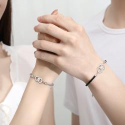 Korean style S925 sterling silver couple double loop bracelet