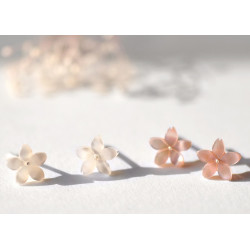 Korean style sakura butterfly shell sterling silver earrings