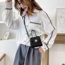 Korean style snake print 2way simple mini shoulder bag
