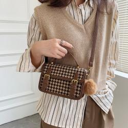 Korean style retro houndstooth 2way shoulder bag