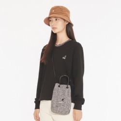 Korean style KANGOL check bucket bag