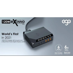 EGO EXINNO 120W instant output display 6-hole USB charger