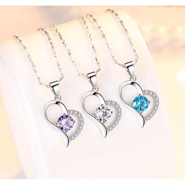 Japanese version S925 blue crystal simple clavicle chain