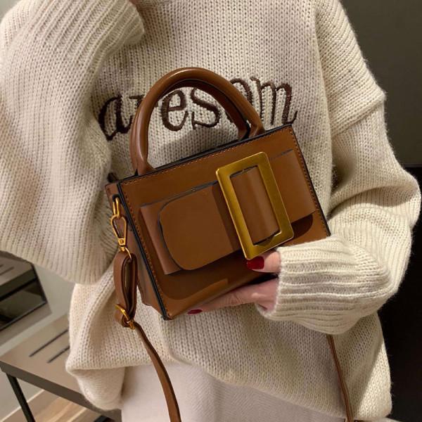 Korean style retro simple big buckle handbag