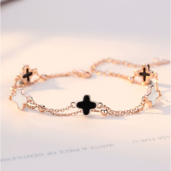 Japanese 925 sterling silver four-leaf clover double-strand agate stone bracelet