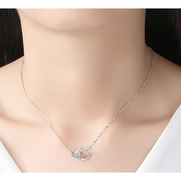 European and American double buckle 925 clavicle chain