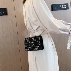 Korean style white check light weight handbag