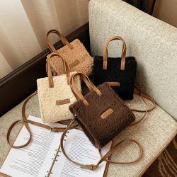 Korean style lamb wool 2way shoulder bag