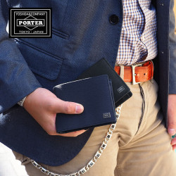 Porter embossed leather short wallet made in Japan