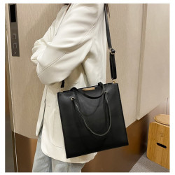 Japanese style leather simple 2way long bucket bag
